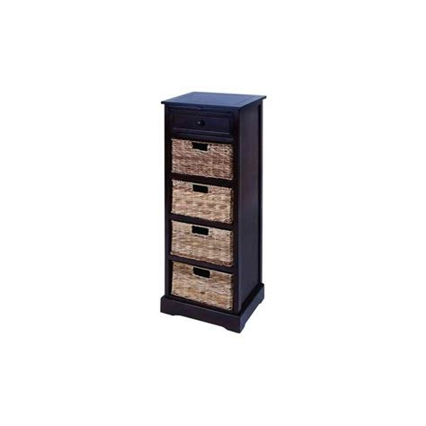 Drawers With Wicker Baskets by Tower Cabinet With Wicker Basket Drawers In Espresso