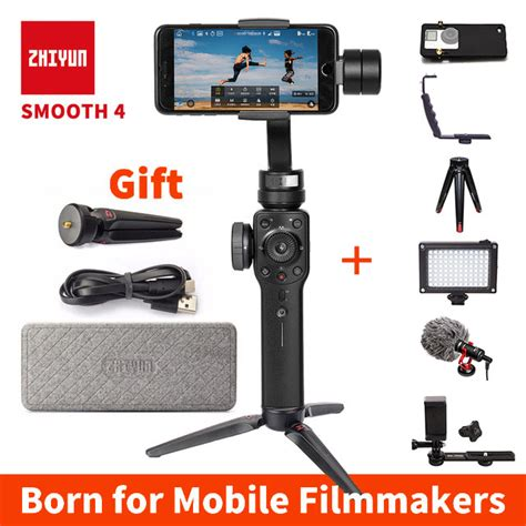 instock zhiyun smooth 4 handheld 3 axis brushless gimbal stabilizer for iphone samsung gopro56