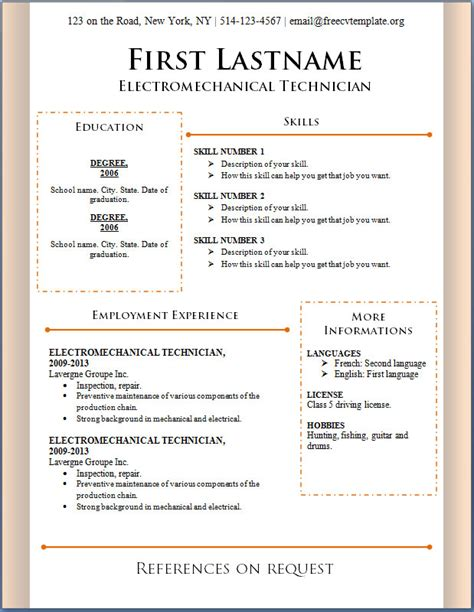resume format for teachers job free download and resume template for