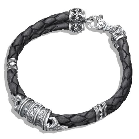Black Diamond & Silver Fleur De Lis Braided Leather Bracelet