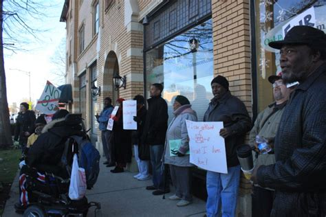 section 8 office in chicago tenant group holds protest over section 8 articles