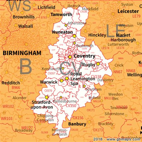 map uk coventry coventry postcode area district and sector maps in