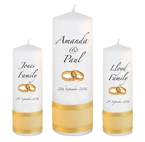 Wedding Gold Fonts by Wedding Unity Candle Set Classic Font 3 Gold Rings