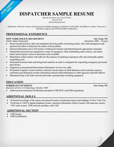 dispatcher resume sle jennywashere