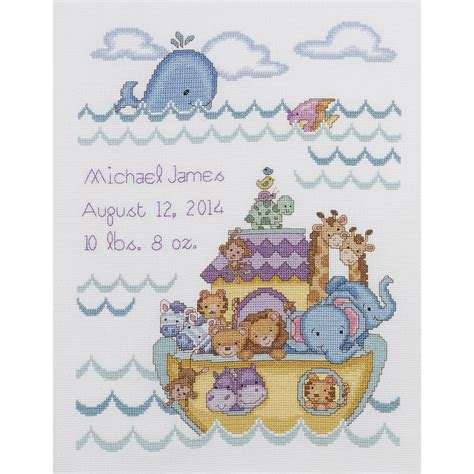 Cross Stitch Birth Records Noah S Ark Birth Record Counted Cross Stitch Kit 10 Quot X13 Quot 14 Count Jo