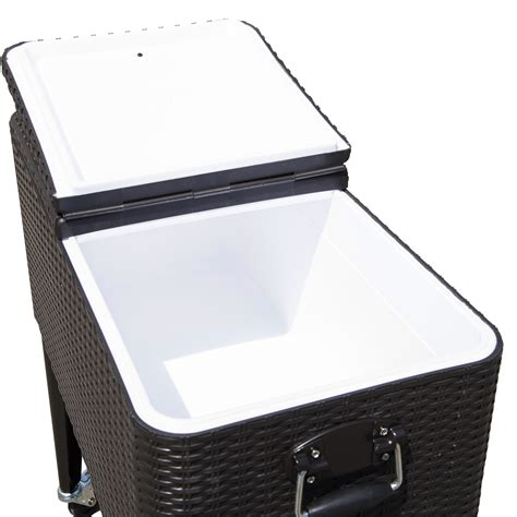 Rolling Patio Cooler Cart by Outdoor Patio Wicker Rattan 80qt Rolling Cooler Cart Yard