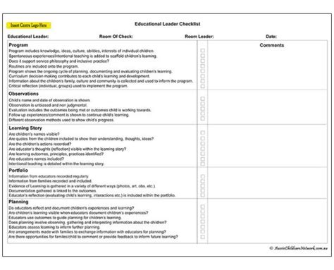 network checklist template educational leader checklist aussie childcare network