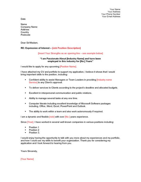 cover letter exle expression of interest covering
