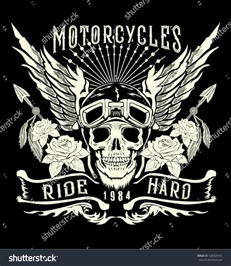 t shirt design tattoo motorcycle skull helmetwingstattoo design t shirt stock