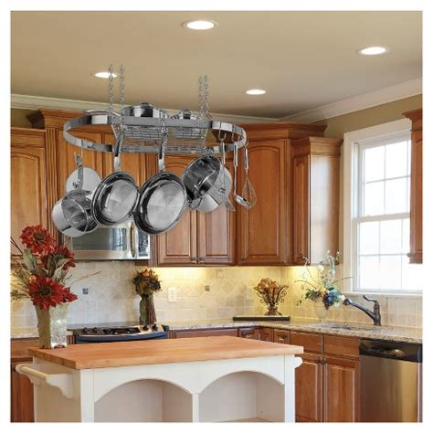 pot rack ideas to complete the kitchen amazing home decor range kleen oval hanging pot rack stainless steel target