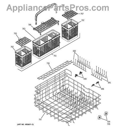 ge dishwasher diagram ge wd28x10405 lower dishrack appliancepartspros