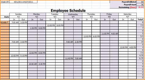 employee schedule template excel employee shift schedule
