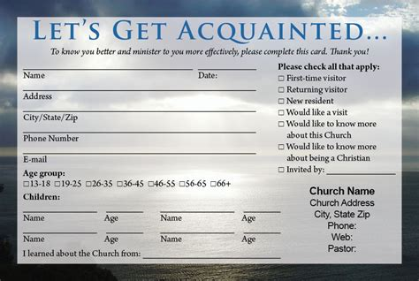 Church Visitor Card Template Downloads by Church Visitor Card Template Birthday Ideas