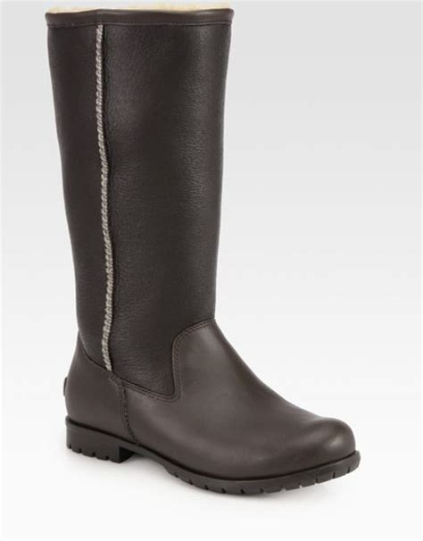 ugg leather boots in black brown lyst
