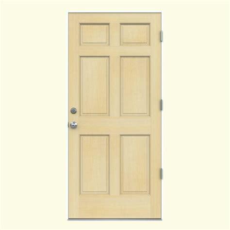 Exterior Door 6 Inch Jamb 32 In X 80 In Authentic Wood 6 Panel Unfinished Hemlock Prehung Front Door With Primed White