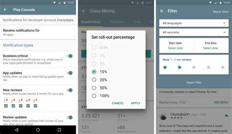 console app android play developer console app updated with review