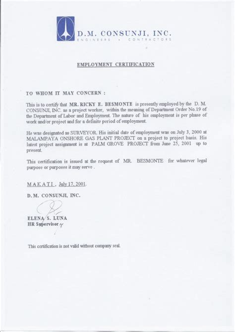 certification letter for travel employment certification dmci