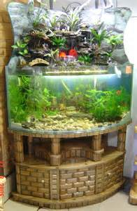 Feng Shui corner and room divider glass aquariums, with brick style