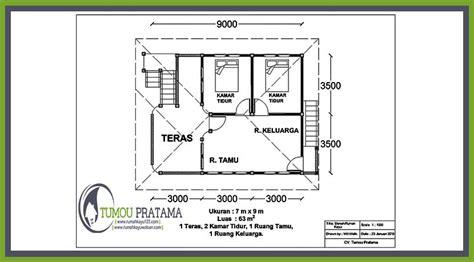 denah rumah kayu 7x9 63 m2 rumah kayu woloan
