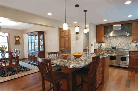 opening kitchen to dining room opening between kitchen and living room island dining on