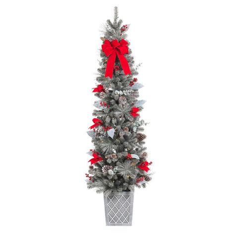 lighted christmas porch trees battery operated home accents 75 in pre lit snowy pine porch artificial tree with 100 clear battery