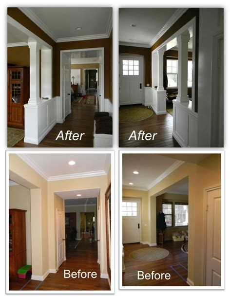 dining room entryway wainscot columns cute little cottage and mobile home