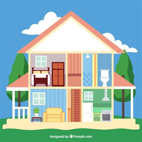 picture of a house house with interior view of the rooms vector free