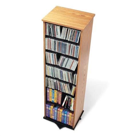 dvd storage tower prepac 2 sided spinning cd dvd media storage tower oak