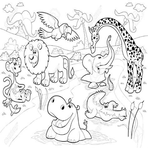 imagenes de animales de la selva para imprimir animales africanos en la selva en blanco y negro
