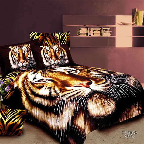 vivid animal brown tiger print colorfast 4pc cotton