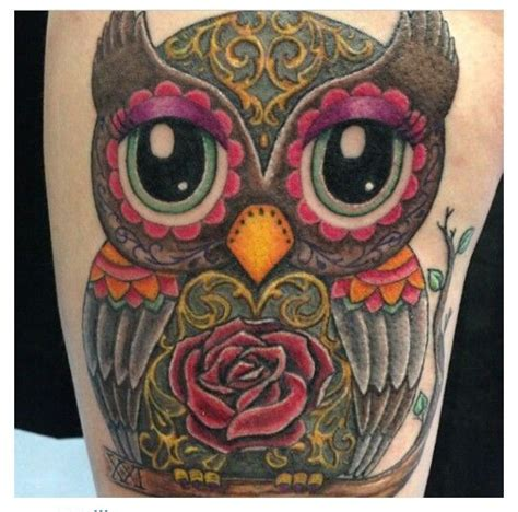 color owl tattoo best 20 sugar skull owl ideas on owl skull