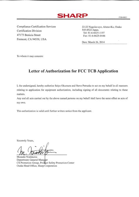 Authorization Letter Of Signature Hro00217 Smart Phone Cover Letter Signature Authorization Letter Sharp Corporation