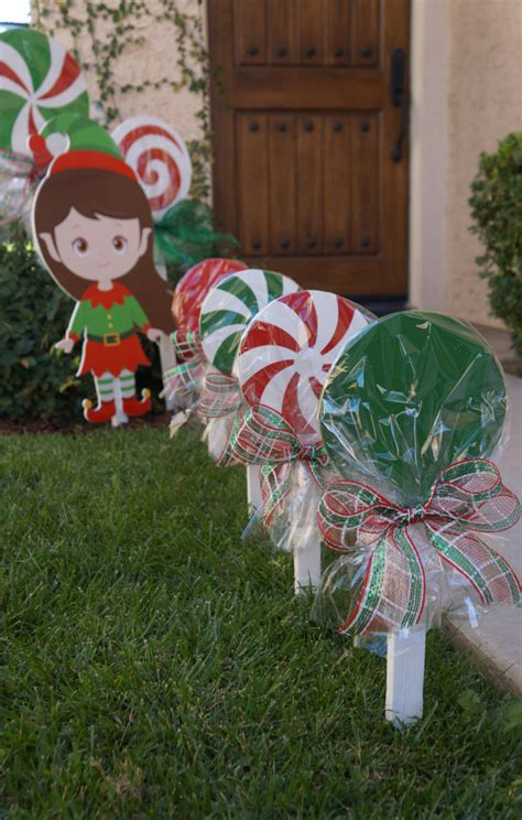 wooden christmas lollipops for yard decorations by
