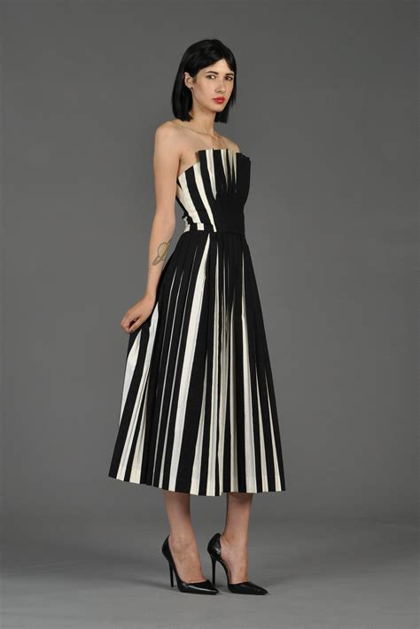 Black White List Dress victor costa black white pleated cocktail dress bustown modern