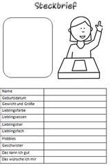 grundschule steckbrief vorlage zum ausdrucken steckbriefe steckbrief