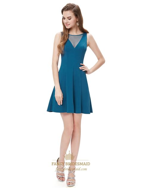 cocktail party attire elegant teal blue short cocktail party dress with illusion