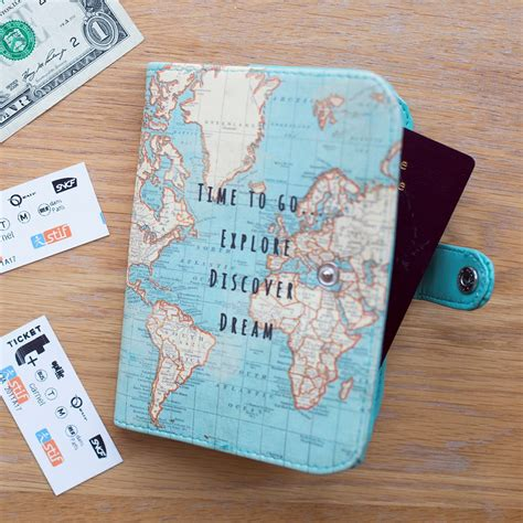 Passport Cover Map Edition vintage time to go world map uk passport cover holder travel notebook ebay
