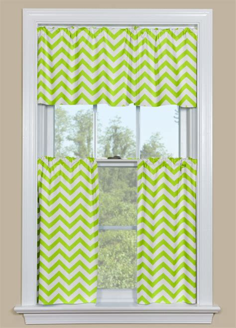 Lime Green Kitchen Curtains Decor Contemporary Style Kitchen Room With Lime Green White Chevron Cafe Curtains For Kitchen And