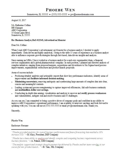 Letter Of Reference Business Analyst business analyst cover letter sle