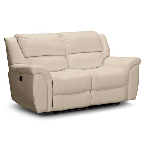 White Leather Dual Power Reclining Loveseat Using Metal Sofa And Recliner