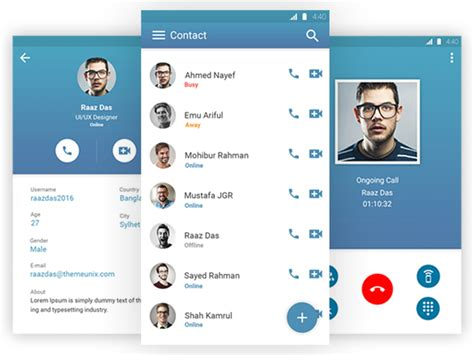 video call layout material design concept for voice video calling ap uplabs