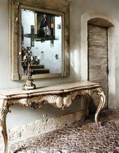 linen and lavender hall mirror console table foyer ornate french decor room home gustavian