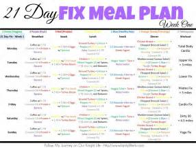 21 day fix meal plan week one our knight life