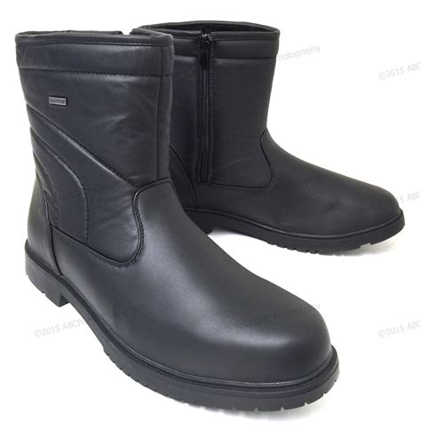 mens winter boots leather ankle warm fur lined zipper comfort shoes size 6 5 13 ebay