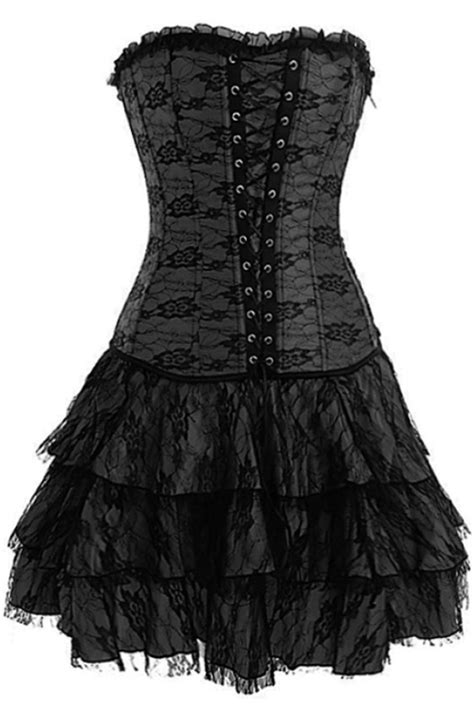 Yuleta Set Overal 2 black floral lace overal on ash midi corset dress with front lace up detail and tripple