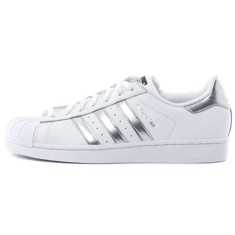 Adidas Silver adidas superstar womens trainers in white silver