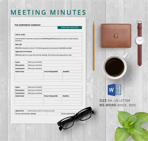 meeting minutes template  samples examples