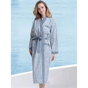 robe de chambre d 233 t 233 en coton col kimono bleue grise pour
