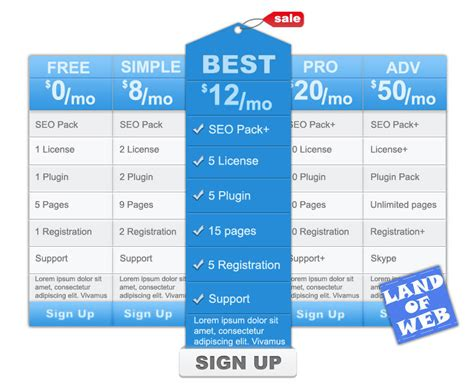 35 free creative pricing plan table psd template 35 beautiful free pricing tag and table psd templates