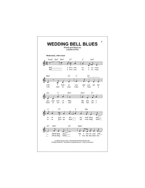 Wedding Bell Blues Chords by The 5th Dimension Wedding Bell Blues Sheet